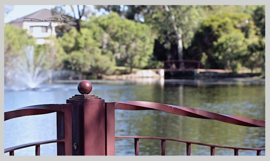 light red iron fence in park, water fountain, nature photography, debiriley.com