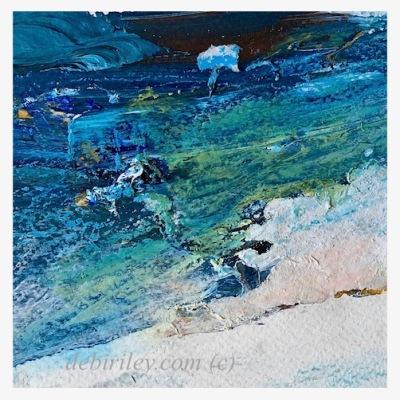 indigo blue green collage, midnight blue acrylics on paper, debiriley.com
