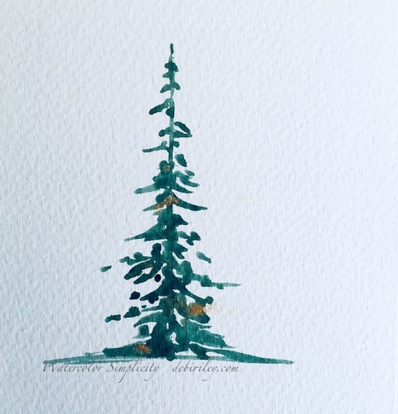watercolor techniques, painting Christmas trees, back to basics watercolor beginners, debiriley.com