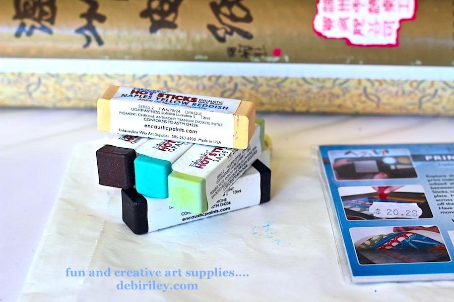 encaustic sticks, fun art materials, buying art supplies on sale, debiriley.com