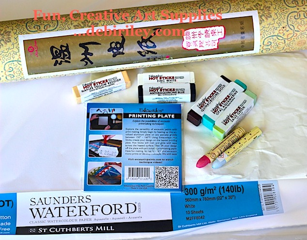printmaking paper, Sennelier oil pastel, print plates, wax sticks, naples yellow, debiriley.com