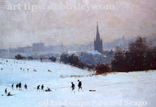 painting winter and snow techniques, learn from the masters, Edward Seago paintings, be inspired by a master artist, debiriley.com