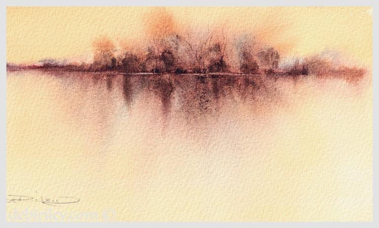watercolor landscape techniques, impressionist watercolours, using minimalist brush approach painting trees, debiriley.com
