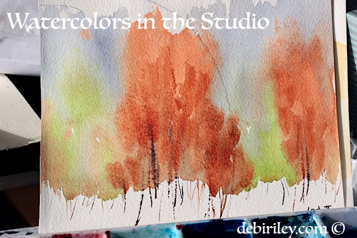 loose and easy watercolor trees, colorful trees in watercolour, debiriley.com