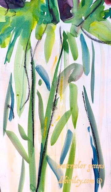 watercolor greens, mixing foliage greens watercolours, debiriley.com
