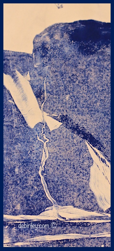 landscapes in blue monochrome, mountain and tree in the landscape, somber and quiet mood in art, printmaking styles for beginners, debiriley.com