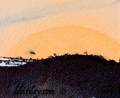 lunar eclipse, watercolor paintings of moon rising, debiriley.com
