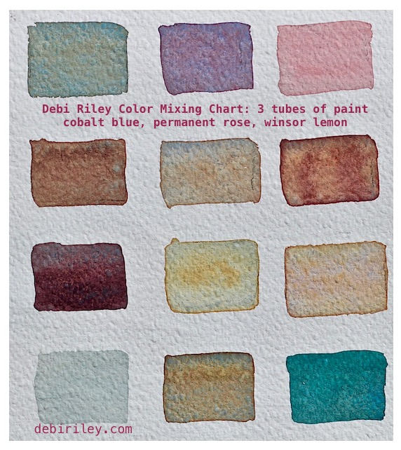 watercolor color chart, watercolor swatches for trees, painting trees, debiriley.com