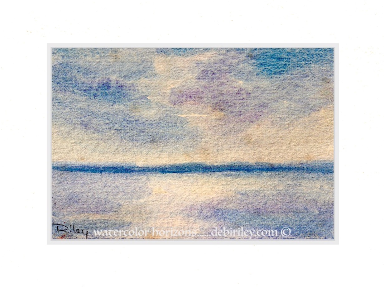 watercolor skies, cobalt violet, wet in wet techniques, luminosity in watercolor landscapes, debiriley.com