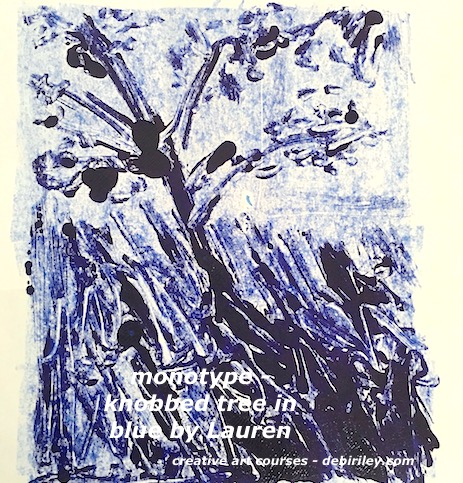 monotype in blue, blue tree print, handprinting for beginners, debiriley.com