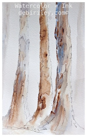 painting watercolor trees from nature, debiriley.com