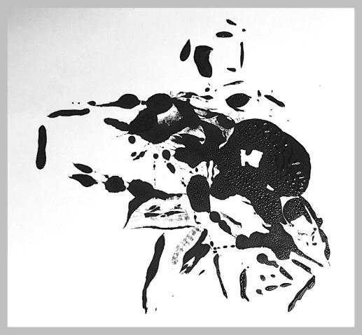 monotype in black ink, powerful design, fun art techniques, debiriley.com