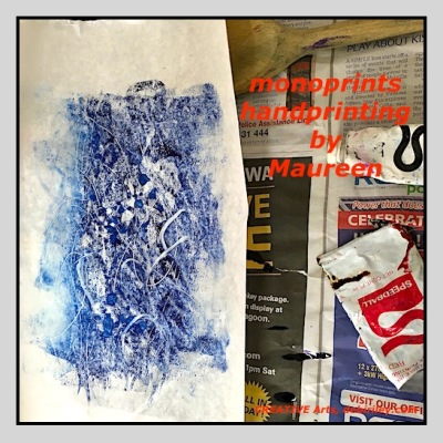 monoprinting in blue, handprinting, abstractions in prussian blue, debiriley.com