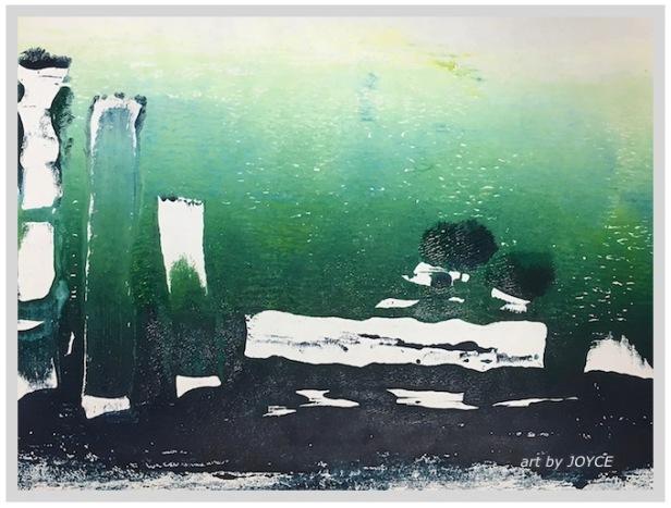 monotype handprinting, green prints of water, debiriley.com