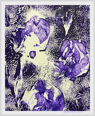 monotype handprinting, purple floral patterns, fun art techniques, debiriley.com