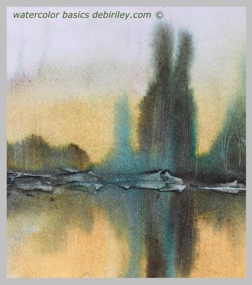 watercolor techniques for beginners, soften edges watercolour, impressionist landscapes trees, prussian blue mixes watercolour foliage, debiriley.com