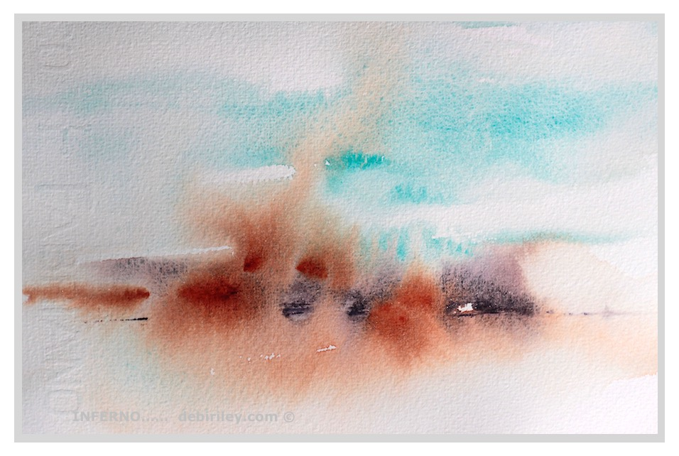 watercolor abstract, cobalt teal blue, fires in watercolor, passion in painting, debiriley.com