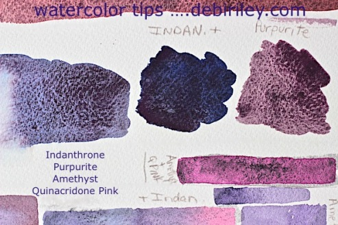 watercolor test color swatch, daniel smith amethyst, watercolour purples, creative art techniques, debiriley.com