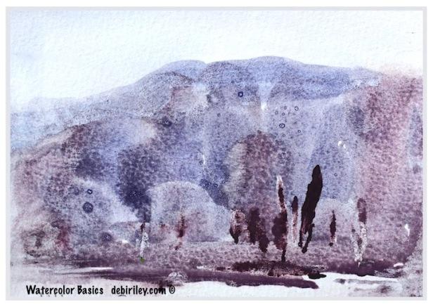 artistic license, impressionist watercolor landscape, Daniel Smith watercolors, limited palette, debiriley.com