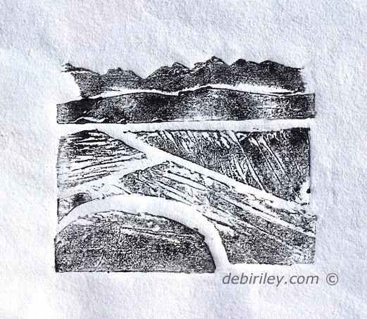 printmaking collagraphs, beginner printing paper and glue, oil based printing inks, debiriley.com