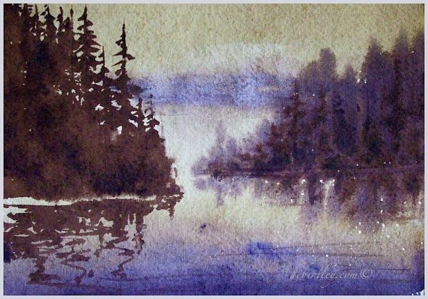 paint emotion, impressionist watercolor, mist on water, Northwest inlet watercolor landscape, debiriley.com