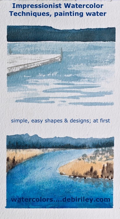 beginners watercolors painting water techniques and ideas, debiriley.com
