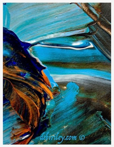 revealing brushstrokes, dynamic abstract paintings in blue and orange, how one stroke can tell us so much, debiriley.com