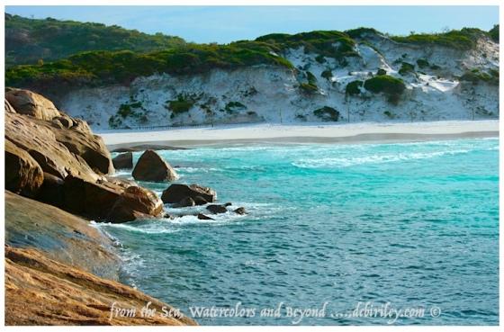 watercolors and the sea, abstract sea paintings, blue watercolors, ocean theme art, debiriley.com