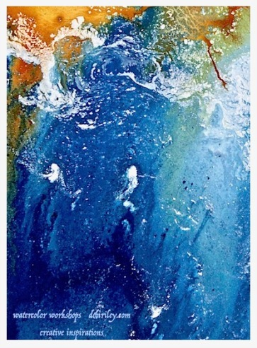watercolor sea inspired abstracts, using nature to paint from creatively, paint with passion and color, debiriley.com