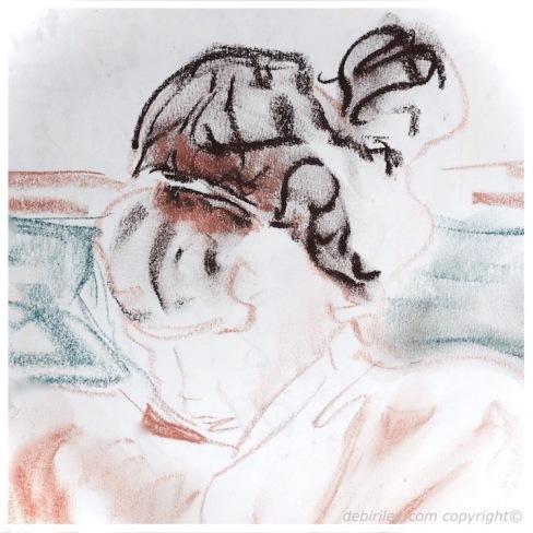 sketches pastel, natural poses, soft portrait drawing, limit palette for impact, debiriley.com