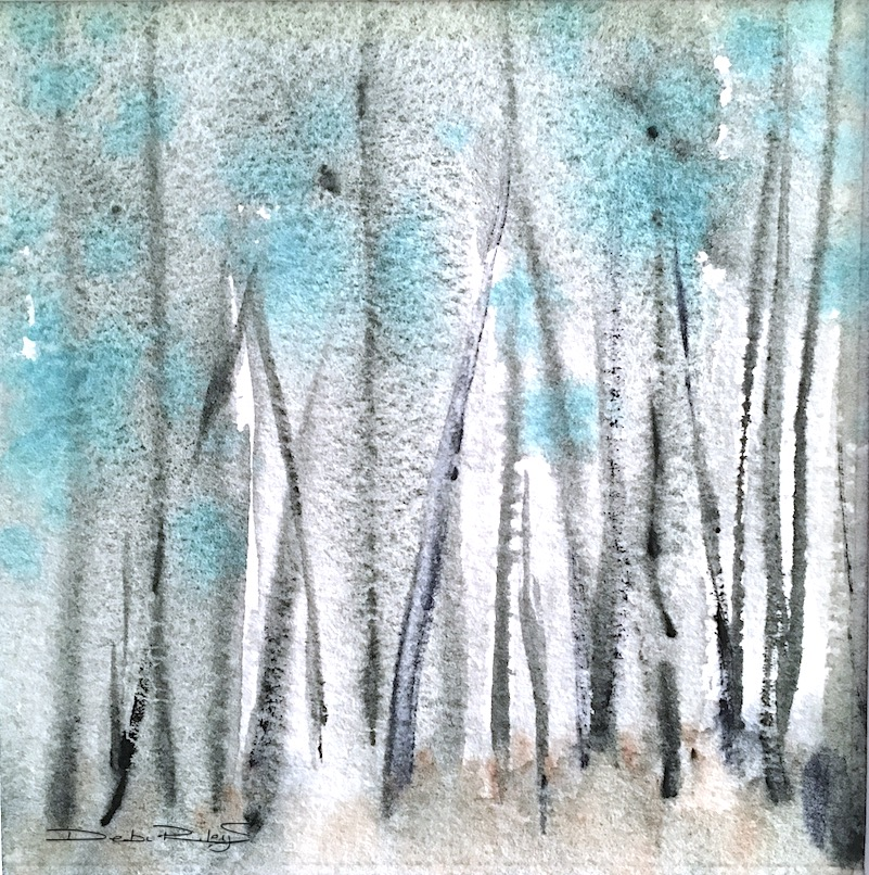 forest grove in watercolor, using Daniel Smith zoisite and cobalt teal blue. Zen like, calm and peace filled.  debiriley.com