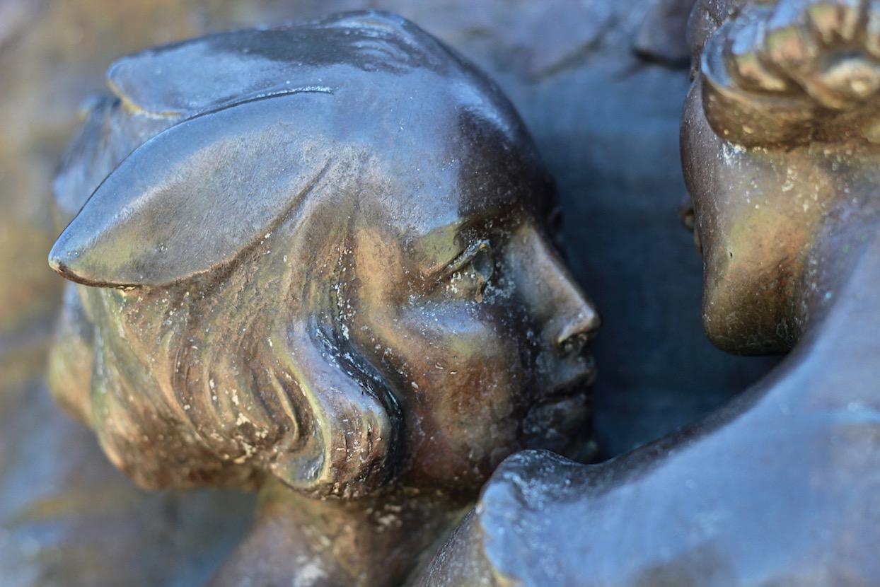 Queens Garden, Perth Peter Pan statue close up details  Sir George Frampton. JM Barrie Peter Pan