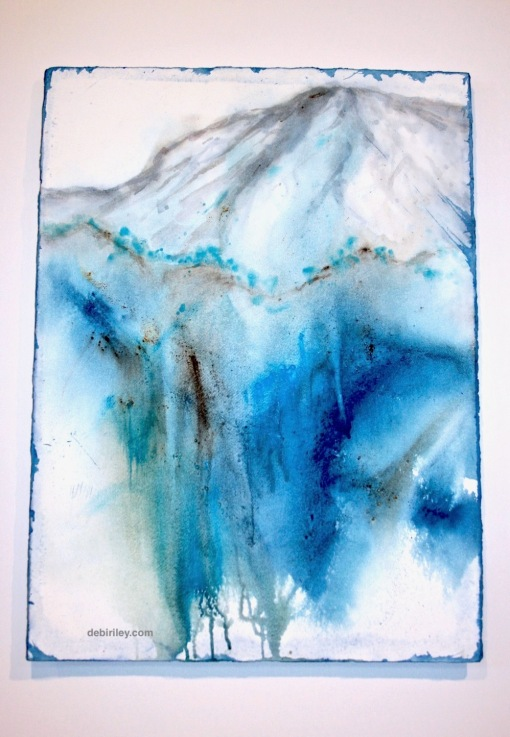 mountain in blue, watercolor mountain, semi abstract landscape, debiriley.com