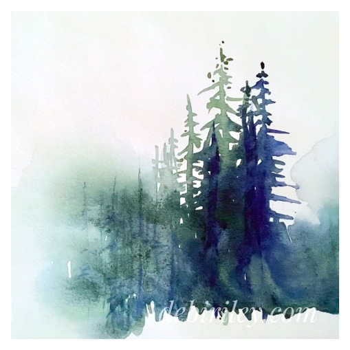 watercolor trees, painting watercolour forest trees, debiriley.com, simplify the scene, indigo Daniel Smith watercolours