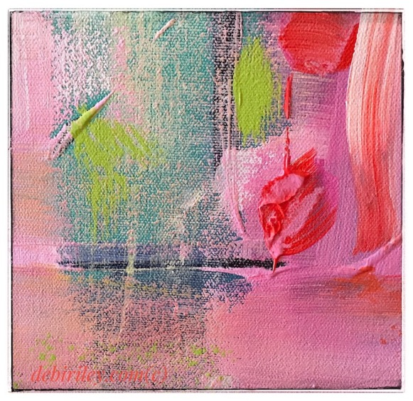 abstract expressionist acrylic painting, orange red scarlet, bright color art paintings, debiriley.com