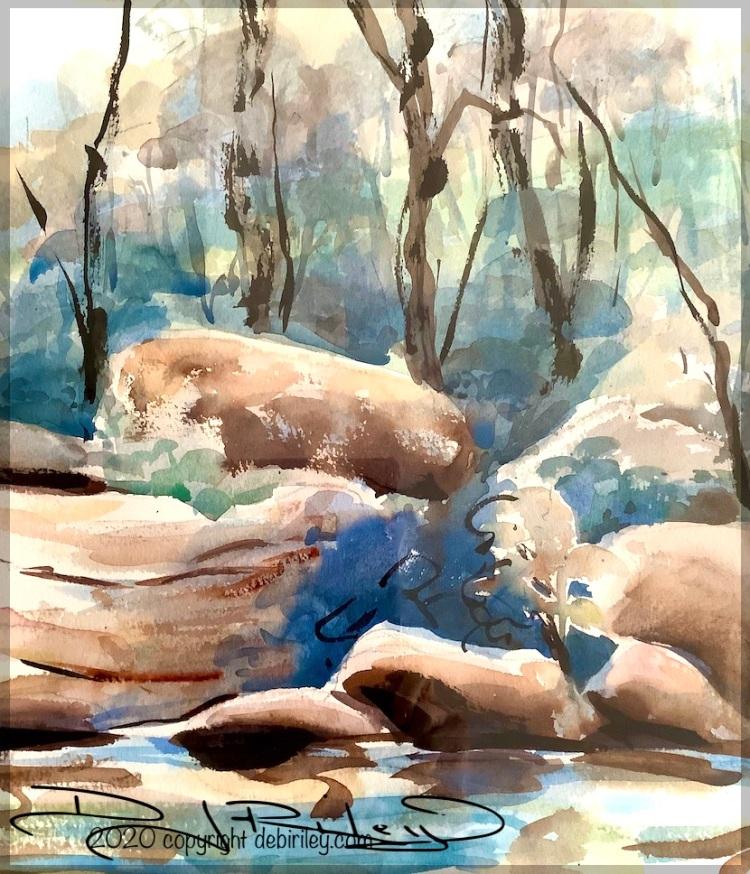 watercolor landscape, debiriley.com